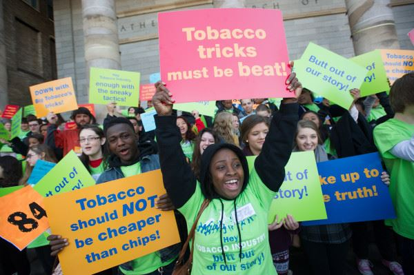Young people at a past, IRL Kick Butts Day event.